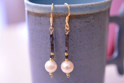 Handmade Gold-plated silver earrings