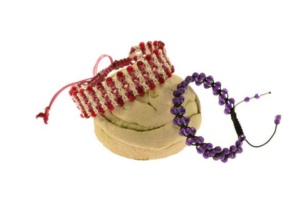 Macrame bracelets with 4mm semi-precious stones